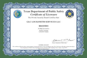 GLC Locksmith Service Certificate The Estate of Texas